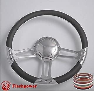 Flashpower 14'' Billet Half Wrap 9 Bolts Steering Wheel with 2'' Dish and Horn Button(Dark Grey)