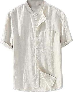 desolateness Mens Linen Shirt Casual Button Down Short Sleeve Lightweight Basic Summer Beach Tops