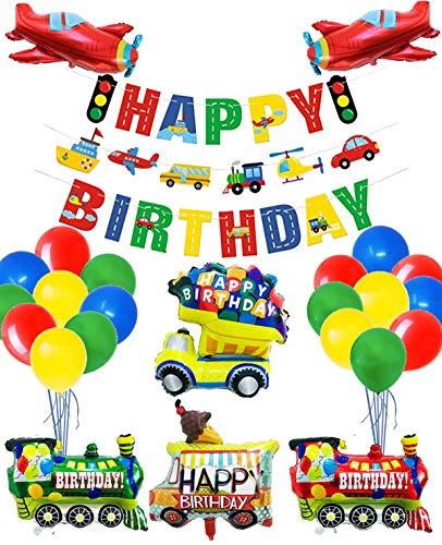 Decoraciones para Fiestas de Transporte, 3 Juegos de Pancartas de HAPPY BIRTHDAY de Transporte y 46 Globos Temáticos de Transporte para Fiestas de Cumpleaños Infantiles (Transporte)