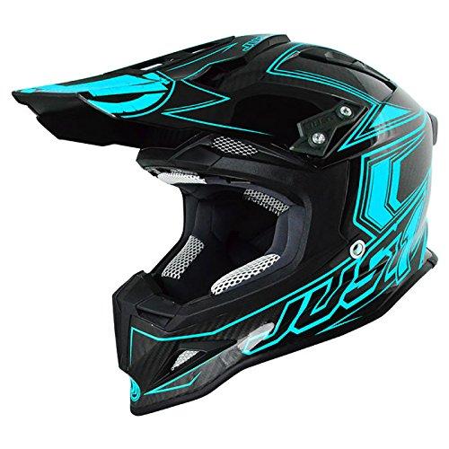 Just 1 Helmets 606320080101806 Casco J12 Carbon Fluo Light Blue, XL