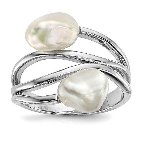 Plata de ley 7-8 mm perla cultivada barroca blanca y anillo tamaño 7 para mujer