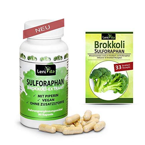 Sulforaphan Kapseln hochdosiert - Einführungspreis - 450mg Brokkoli Extrakt (45mg Sulforaphan) - mit Piperin - 90 Kapseln - Vegan - Made in Germany - inkl. Ebook