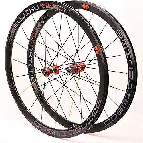 ZLJ 700C Road Wheel Bike Reflective Wheelset Straight Pull er 40mm Double Wall Alloy C/V Brake 2: 1 Coding 18/21 Holes 8-9-10-11 Speed