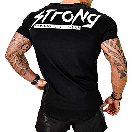 Samy トレーニングウェア メンズ Tシャツ ストレッチ 半袖 細身 フィットネス 筋トレ スポーツウェア DX528 ブラック M