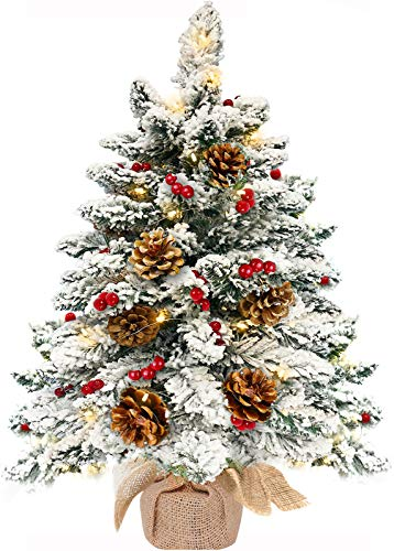 TURNMEON 22Inch Tabletop Christmas Tree with 50 Lights, Snow Flocked Pre-lit Mini Small Christmas Tree Battery Operated Warm White Light 45 Red Berry 7 Pine Cones Burlap Base Indoor Xmas Holiday Decor