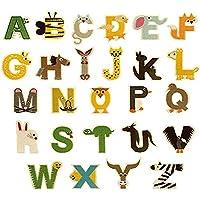 Yesallwas ワッペン アルファベット アイロン 接着 26枚セット かわいい 動物 アップリケ 英語 うさぎ ペンギン スマイル 女の子 男の子 子供 刺繍ワッペン 黄色 緑