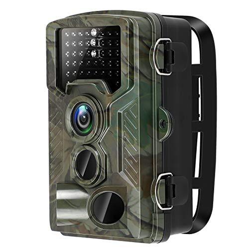 Topnaca Wildkamera Fotofalle 1080P HD Jagdkamera, IP66 Überwachungskamera mit, wasserdichte Aufklärungskamera mit 0,2s Bewegungsmelder, 120° Weitwinkel Nachtsichtkamera für Jagd und Tierbeobachtung