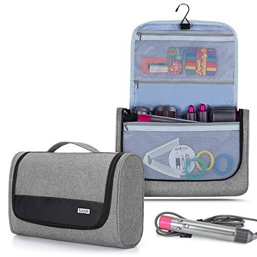 Luxja Tragbare Reisetasche für Dyson Airwrap Styler, Kulturtasche für Airwrap Styler und Zubehör, Faltbare Kosmetiktasche für Dyson Lockenwickler, Grau