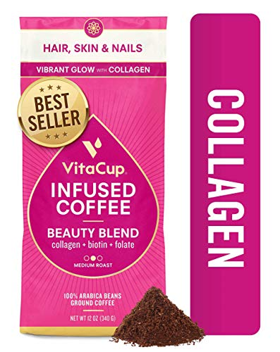 VitaCup Beauty Collagen Blend Ground Coffee Bags 12oz | Collagen, Biotin & Cinnamon | Hair, Skin & Nail Health | Keto & Paleo Friendly | B Vitamins | for Drip Coffee Brewers and French Press