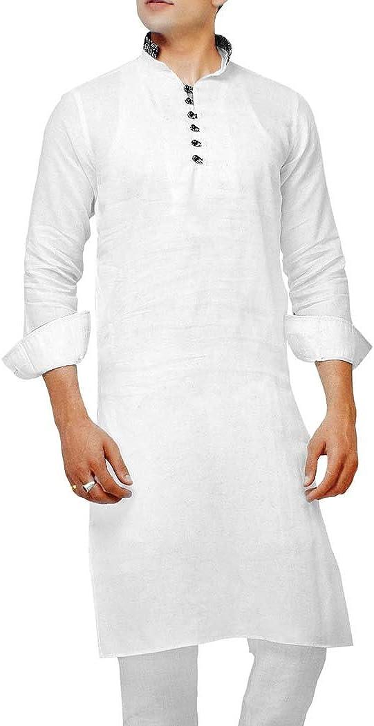 INMONARCH Mens Indian Kurta White Kurta Pyjama Full Sleeve Linen Sherwani KP28