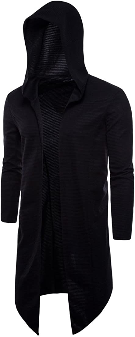 Elonglin Men's Hooded Open Edge Long Cardigan No Zipper Outwear Long Sleeve Black