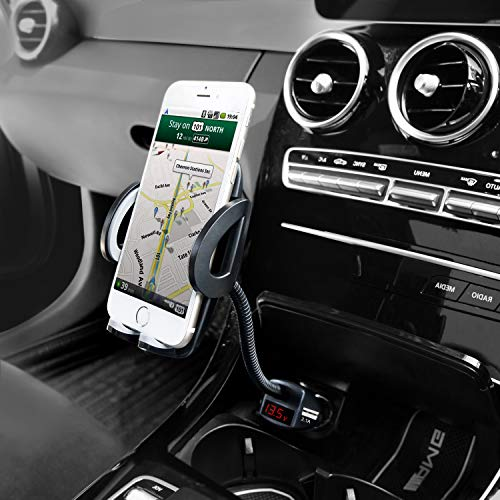 Car Phone Mount, Amoner 4 in 1 Phone Holder for Car, Cigarette Lighter Phone Car Mount with Long Gooseneck and Dual Port USB Charger Compatible 11 Pro 11 Xs Max Xs 8, Galaxy S9 S8, Mate20 P30 and More