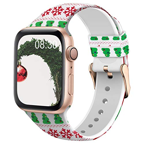 TSAAGAN Silicone Pattern Printed Band Compatible for Apple Watch Band 38mm 42mm 40mm 44mm, Floral Soft Sport Replacement Strap Wristband for iWatch Series 6/5/4/3/2/1 (Christmas, 42mm/44mm)