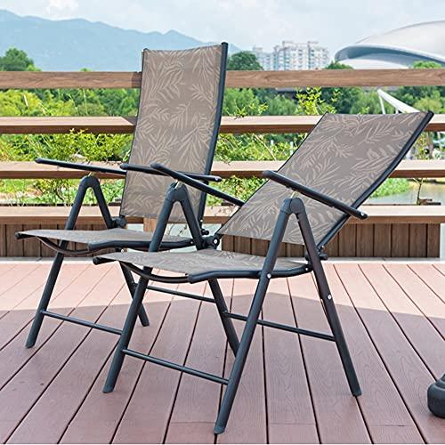 Folding Chairs Ocio de Ocio al Aire Libre Asiento portátil de Hierro Forjado Silla Plegable de la Oficina de la Oficina del hogar Silla Ajustable del Respaldo (2 Paquetes) (Color : B)