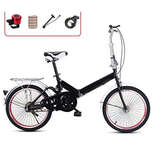 DFKDGL Mountainbike, tragbare Fahrräder für Männer, Klapprad mit Variabler Geschwindigkeit, Damenrad mit Autoklingel, Heckablage und Doppelscheibenbremse, 20-Zoll-Rad