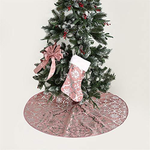 Meiju Gonna per Albero Natale, Albero di Natale Decorazione Rotonda Tappeto Copertura Copri di Base per la Casa Decorazioni NatalizieFesta Vacanze (120cm,Rosa)