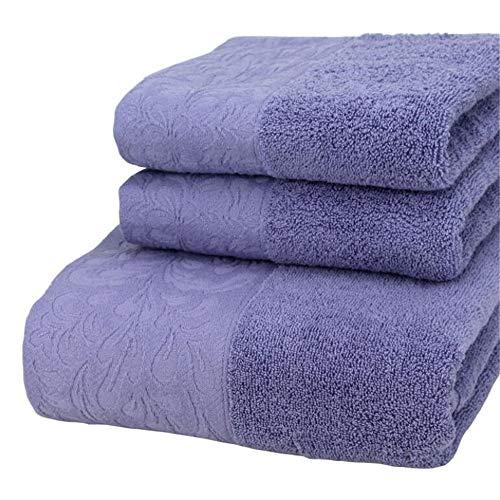 Toalla De Baño Y Toalla Conjunto De 3 Piezas, Toalla De Algodón Toalla De Peso Ligero Absorbente Suave Seco Rápido Ideal para Uso Diario,Dark Purple