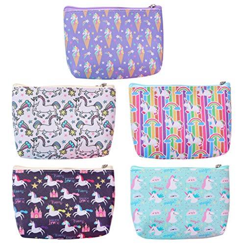 VALICLUD Moneda de Unicornio Bolsas de Cambio de Chicas Jóvenes Bolsa de Cremallera de Unicornio a Granel Pequeña Cartera para Mujeres Y Niñas- 5 Piezas