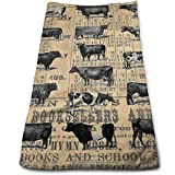 DDHHFJ Vintage 1896 Cows Study On Antique Lancaster County Almanac Bath Towels for Bathroom-Hotel-SPA-Kitchen-Set - Circlet Egyptian Cotton - Highly Absorbent Hotel Quality Towels 27.5 X 12 Inch