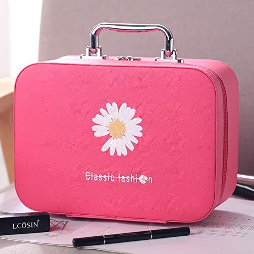 Sac cosmétique Portable Grande capacité Sac de Rangement de Voyage Main étanche boîte de Maquillage 18 * 25 * 11 CM Grande Rose Rouge
