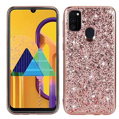 Casos básicos de teléfono Celular para Samsung Galaxy A21S Glitter Powder a Prueba de Golpes TPU Funda Protectora (Color : Rose Gold)