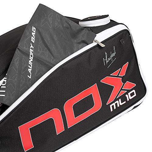 NOX ML10 Competition, Porta Racchette da Ragazzi, Unisex, Nero Rosso, 70x45x30cm