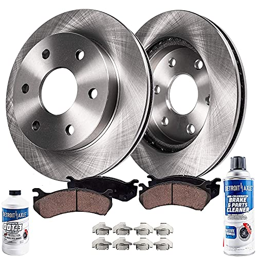 Detroit Axle - 6 Lug Front Disc Rotors + Ceramic Brake Pads Replacement for...