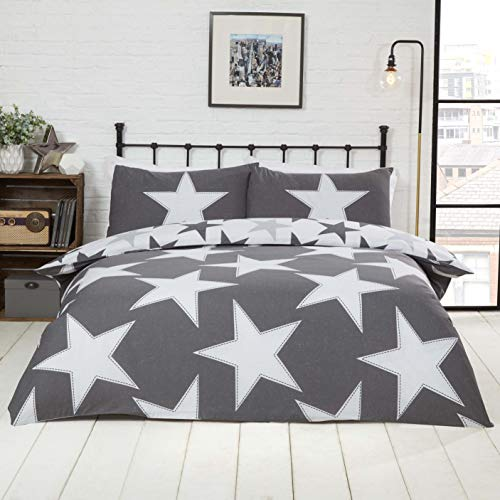 Rapport Stars Reversible Duvet Cover Bed Set, Polycotton Grey, Single
