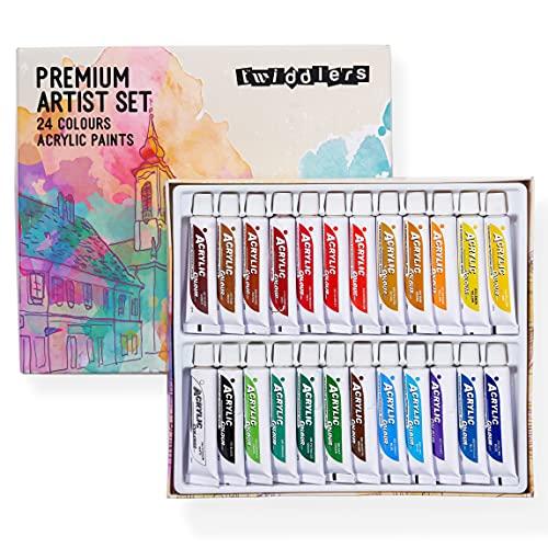 THE TWIDDLERS 24 Couleurs de Peinture Acrylique Riches en Pigments (12ml/Tube)