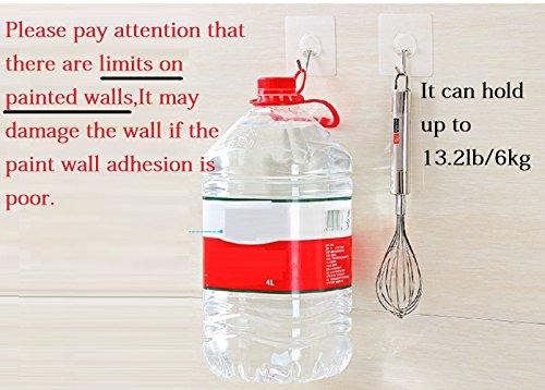 Fealkira 13.2lb/6kg(Max) Wall Utility Adhesive Hooks for Towel Loofah Bathrobe Coats,Bathroom Kitchen Nail Free Transparent Heavy Duty Wall Hook & Ceiling Hanger(10pcs)