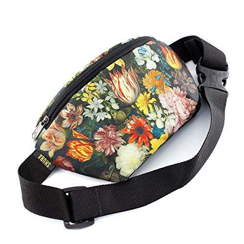 Chest Bag Sling Backpack Personal Bag Flowers canvas Casual Daypack Crossbody Bag Belt Waist Packs, Waist Pocket, Adjustable belt bag, famous art canvas, for travellers (Purple)