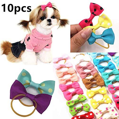 cuhair Mix 10 Stück süße Gepunktete Schleife Knoten Teddy elastisch Pferdeschwanz Halter Haargummi Haarseil Zubehör für Hunde Katzen Haustiere