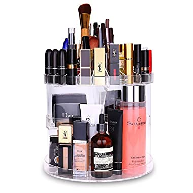 Makeup Organizer Acrylic 360 Degree Rotating Cosmetic Storage Large Capacity Makeup Tools Holder for Countertop Fits Toner Creams Makeup Brushes Lipsticks and More by HOMEASY