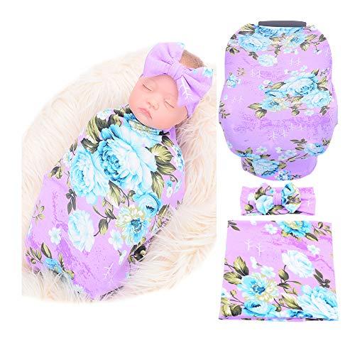 Baby Car Seat Cover Breastfeeding and Newborn Receiving Blanket Headband Set (Purple)