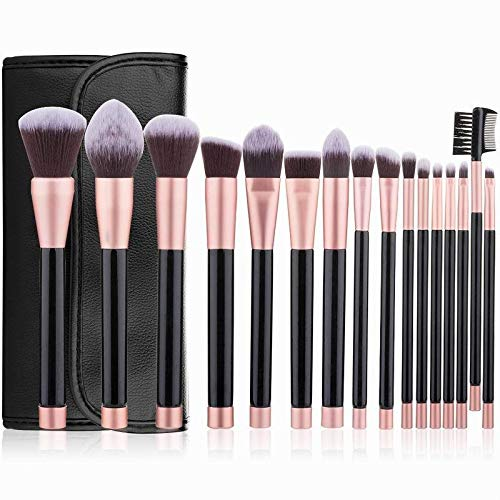 Pinceau de maquillage pinceau de maquillage Set professionnel 16 pinceaux de maquillage for mélange de teint poudre visage fard à joues anticernes oeil brosse synthétique de qualité maquillage A ++