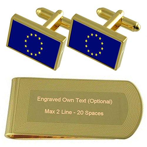 Select Gifts Fahne der Europäischen Union Gold-Manschettenknöpfe Geldscheinklammer Gravur Geschenkset