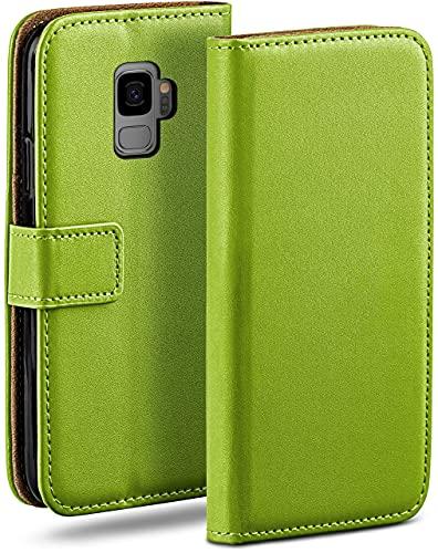 moex Klapphülle kompatibel mit Samsung Galaxy S9 Hülle klappbar, Handyhülle mit Kartenfach, 360 Grad Flip Hülle, Vegan Leder Handytasche, Grün