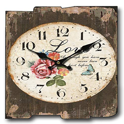 mzl Reloj de Pared Decorativo Creativo Reloj Retro Reloj de Pared Cuadrado Reloj