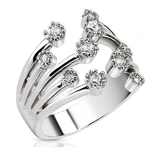 Bungsa® Mittelring Zirkonia Kristallfontäne Multikristall Rhodium platiniert Zehenring für Damen (Zehring Fussschmuck Fussring Toe-Ring Nail Ring...