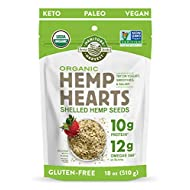 Manitoba Harvest Organic Hemp Hearts Shelled Hemp Seeds, 18oz; 10g Plant-Based Protein & 12g Omegas per Serving, Whole 30 Approved, Vegan, Keto, Paleo, Non-GMO, Gluten Free