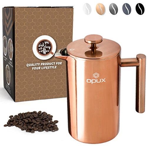 OPUX Premium Stainless Steel French Press, Double Wall Coffee Maker | Thermal Insulated Press Pot | 34 fl oz/1 Liter, Dishwasher Safe, Extra Filters (Copper)