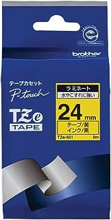 【brother純正】ピータッチ ラミネートテープ TZe-651 幅24mm (黒文字/黄)