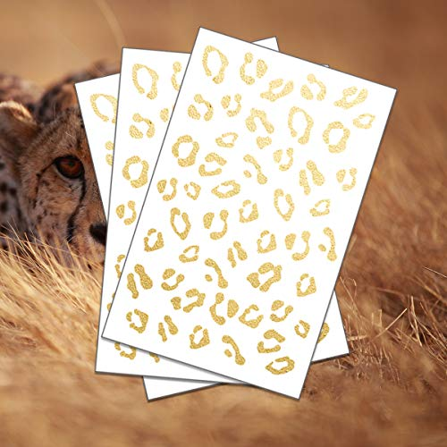 FashionTats Gold Cheetah Print Temporary Tattoo (3 pack) | Skin Safe | MADE IN THE USA| Removable