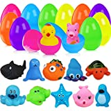 Comken Easter Eggs Filled Toys, 12 PCS Plastic Easter Eggs with Animal Bath Toys Inside, Floating Rubber Toys for Bathtub Bathroom Shower Game Swimming Pool Party Kids Gifts Easter Eggs Hunt