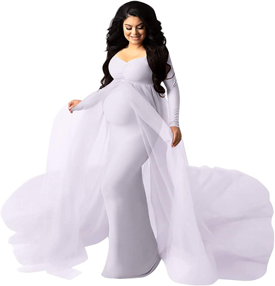 Women's Long Sleeve Off Shoulder Maternity Maxi Photography Dress Tulle Wedding Mermaid Gown for Photoshoot Baby Shower