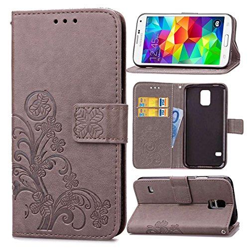 pinlu Funda para Samsung Galaxy S5 Mini Función de Plegado Flip Wallet Case Cover Carcasa Piel PU Billetera Soporte con Trébol de la Suerte Gris