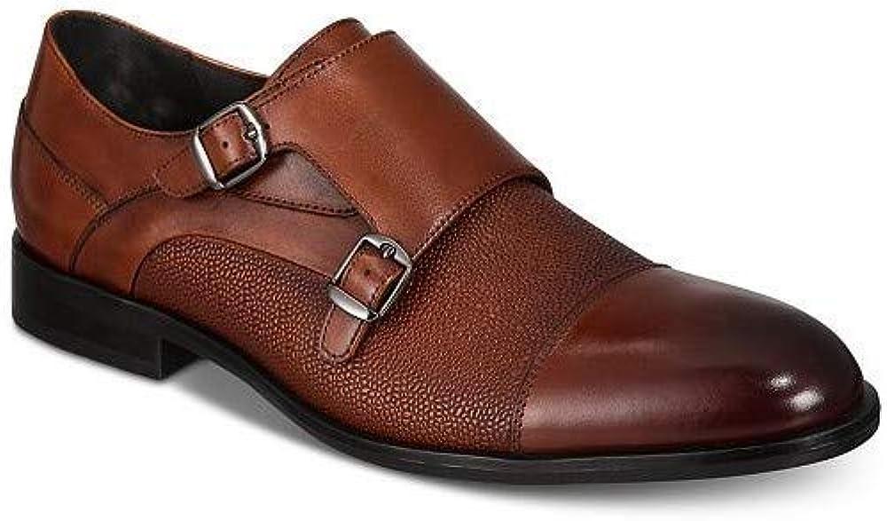 Fees free Alfani Men's 2021 model Brown Leather Luxton Double Oxfords Monk S Textured