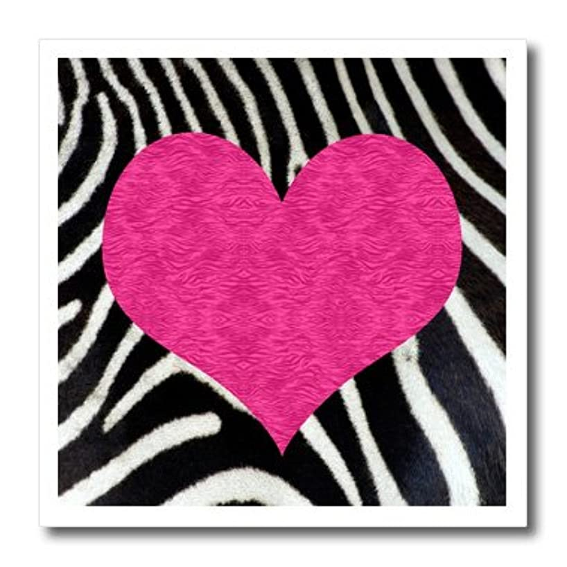 3dRose ht_20393_2 Punk Rockabilly Zebra Animal Stripe Pink Heart Print Iron-On Heat Transfer Paper for White Material, 6 by 6-Inch