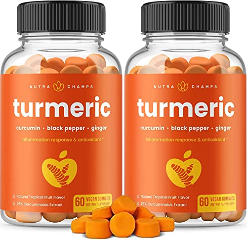 (2-Pack) 120 Turmeric Gummies with Ginger & Black Pepper Extract - Curcumin Gummy Supplement for Adults & Kids [95% Curcuminoids] Inflammation & Joint Support Delicious Vegan Chewable Tumeric Vitamin