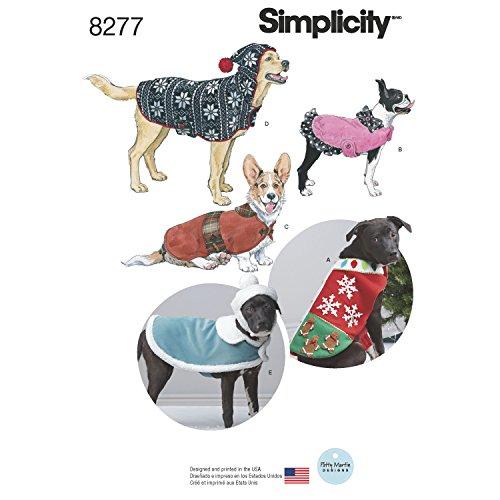 Simplicity US8277A 8277 A (S-M-L) -Patrones de Costura para Abrigos y Sombreros de Perro (Forro Polar, 3 tamaños), Papel, Blanco, 22.00 x 15.00 x 1.00 cm